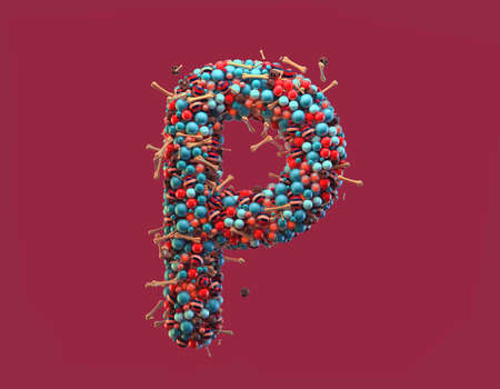 3d rendering. Colorful alphabet with small chocolate skulls and sugar bones. Font with many blue, orange and striped glossy spheres. Candy colors. Single uppercase letter P. Isolated on red background Stock Photo