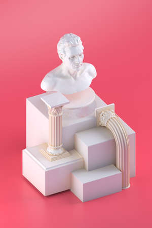 3d rendering of still life with bust statue, bent columns and simple cubic form on red background
