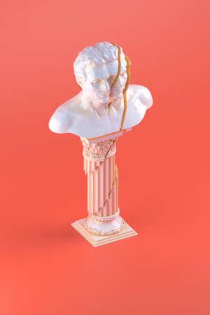 3d rendering of shattered bust statue placed on shattered column on orange background