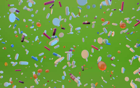 3d rendered different type of flying pills on lime green background