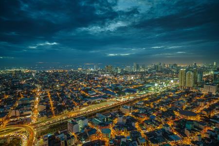 Dec 17,2016 Manila city skyline nightview, Manila, Philippines Stock Photo