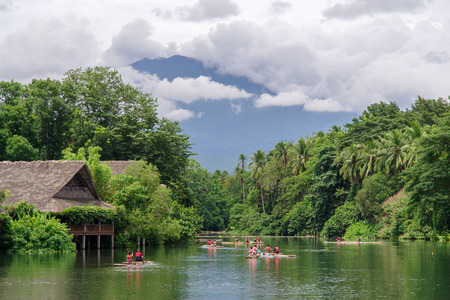 July 15,2017 ride on raft at the river in villa escudero, Laguna , Philippines Reklamní fotografie - 82473300