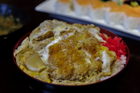 Japanese food Katsudon with red ginger