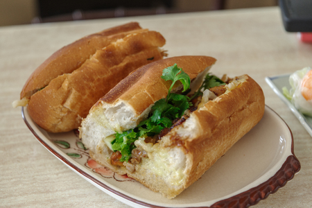 mi: Vietnamese food Barbeque fork banh mi on the plate
