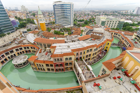 Oct 8, 2017 Panorama view of Venice Piazza Grand Canal Mall from Venice Luxury Residences, Taguig, Philippines