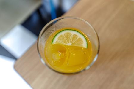 Lemon ice tea on the table Stock Photo