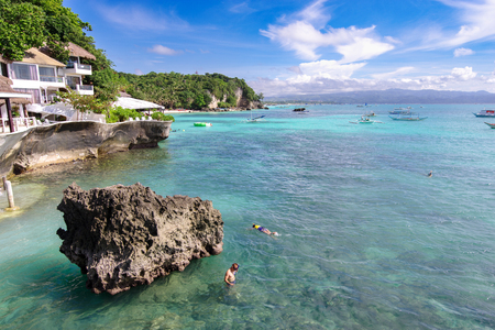 Nov 18,2017 tourist Snorkeling at West Cove in Boracay,Philippines