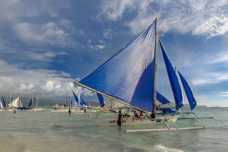 Nov 16,2017 sailing Boat waiting tourist at Boracay white beach, Boracay, Philippines