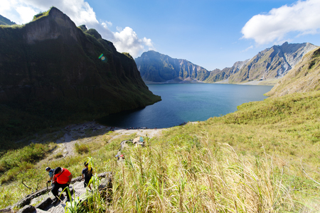 Beautiful landscape at Pinatubo Mountain Crater Lake, Philippines 스톡 콘텐츠