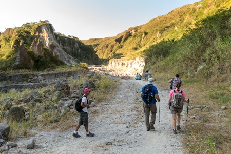 Feb 18,2018 People who are hiking Pinatubo, Capas, Philippines