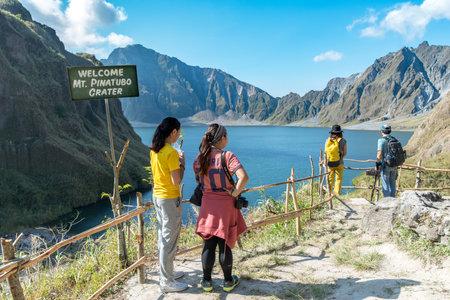 Feb 18,2018 Tourists admiring Mt. Pinatubo Crater lake, Capas, Philippines Editorial