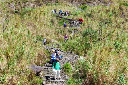Feb 18, 2018 Tourists to Mt. Pinatubo crater lake, Capas, Philippines Editorial
