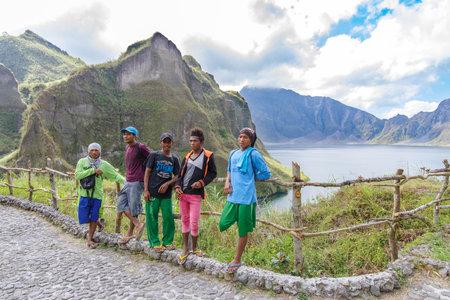 Feb 18,2018 Aboriginal guides resting on Mt. Pinatubo crater lake, Capas , Philippines Editorial