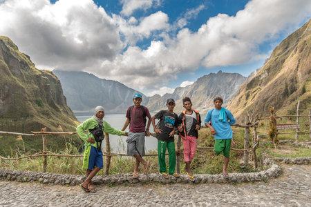 Feb 18,2018 Aboriginal guides resting on Mt. Pinatubo crater lake, Capas , Philippines