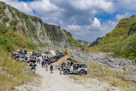 Feb 18, 2018 Four-wheel drive cars parked at the start of the Pinatubo hike, Capas , Philippines