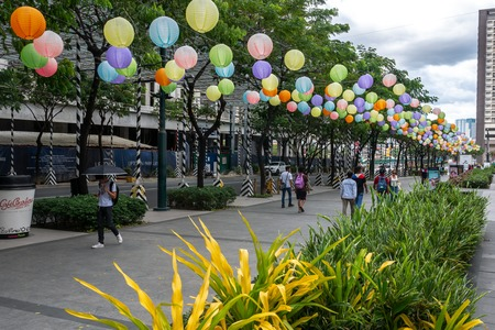 Manila Philippines - Apr 9,2018 Lantern decoration at Uptown mall in Fort Bonifacio