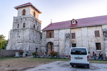 Bohol island, Philippines. Apr 23, 2018: Tourists taking commemorative photos at Baclayon church Editorial