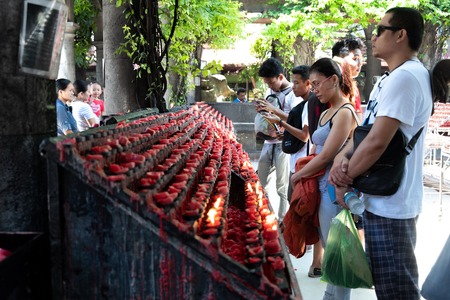Cebu city, Philippines Apr 25,2018 - People praying in the Sto Nino Church