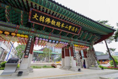 Seoul , South Korea : Jun 17, 2018 Main Gate of Jogyesa Buddhism temple