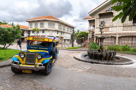 Bataan, Philippines - Jun 30,2018 : Tourists on a jeepney ride at Las casas filipinas