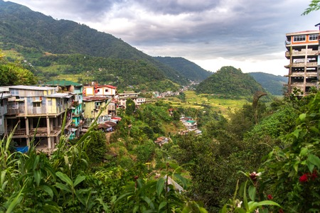 Mountain Town Banaue Landscape view, Philippines Stock Photo