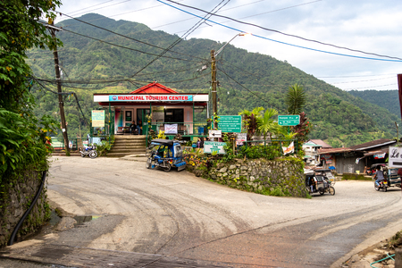 BANAUE PHILIPPINES, Aug 22, 2018 Tricycle waiting for visitor in front of tourist information center