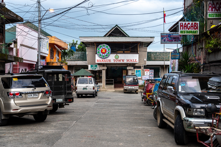 BANAUE PHILIPPINES, Aug 22, 2018 Cars parked in front of Banaue Town Hall Editorial