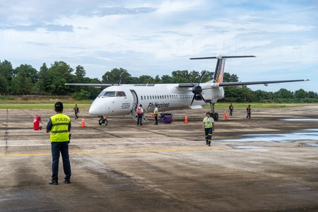 Dec 25, 2018 Airport staff preparing to arrive at San Vicente Airport, Palawan, Philippines Editorial