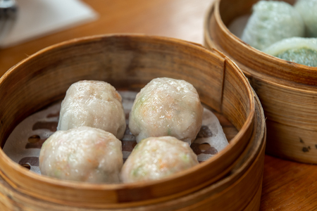 Popular asia food fork dimsum in the bowl