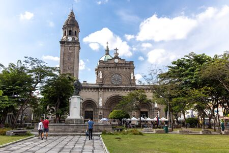 June 9,2019 People visiting the Manila Cathedral at Intramuros, Manila, Philippines