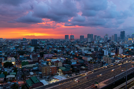 beautiful sunset at Manila, Philippines Editorial