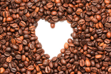 Coffee beans in heart shape white background isolated Stock Photo