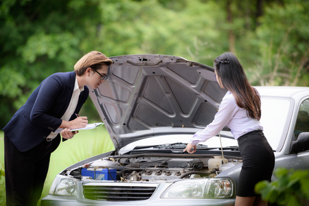 adjuster: Car insurance is talking to the car owner while the car is broken.