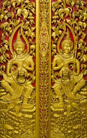 Thai style molding art at temple, thailand  photo