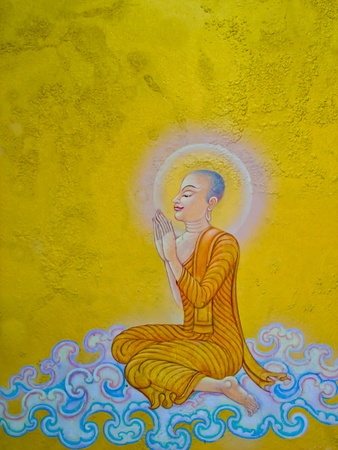 buddha image: The Thai art of religion on wall of temple.