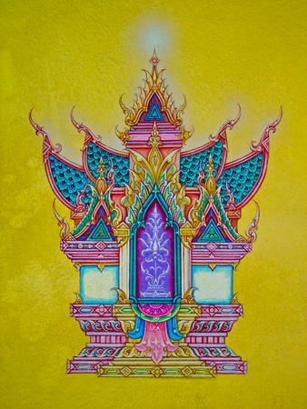The Thai art of religion on wall of temple.