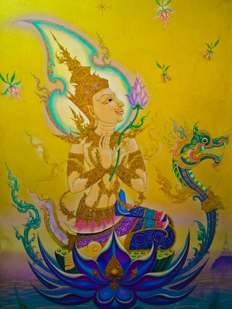 thai painting: The Thai art of religion on wall of temple.