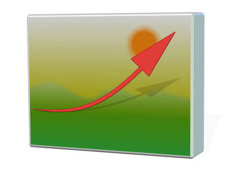 population growth: business graph on background Stock Photo