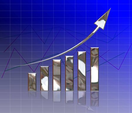silver business graph on background photo