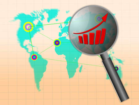 price gain: world map and business graph on background Stock Photo