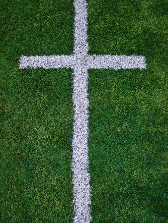 american football background: Line on astroturf