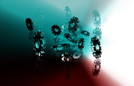 synchronization: cog in abstract background