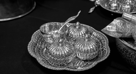 stock photographs: silverware black and white thaistyle