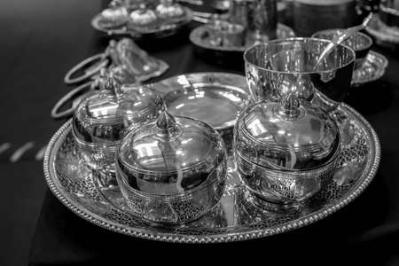 stock photographs: silverware black and white