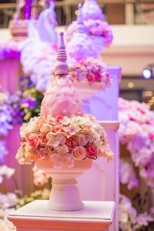 wedding backdrop: tray with pedestal Stock Photo