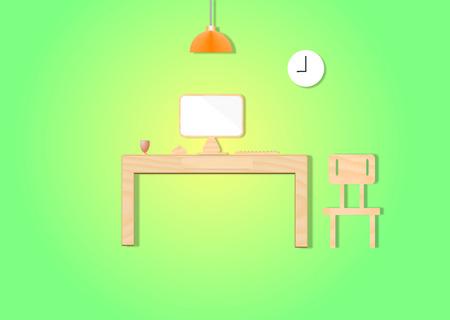 office cubicle: desktop computer Stock Photo