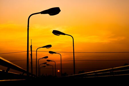 ourdoor: Silhouette Electric Lamp Whith Sunset