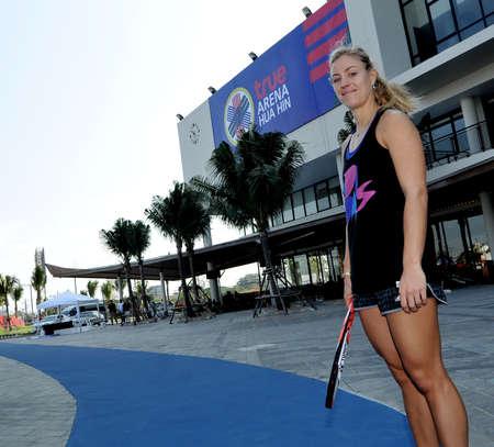 HUA HIN-JAN 1: Angelique Kerber de l'Allemagne en action lors d'un match du Championnat du Monde de THAÏLANDE THAÏLANDE 2016 au True Arena Hua Hin le 1er janvier 2016 à Hua Hin, en Thaïlande Éditoriale