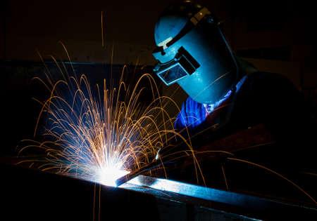 welding metal: welding steel structure Stock Photo
