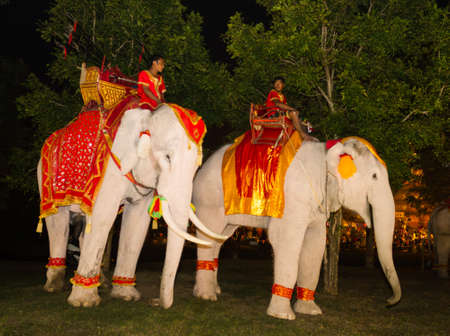 AYUTTHAYA THAILAND - DECEMBER, 9,2012- Ayutthaya Light & Sound Presentation and Thai historical acting festival on December 9-16,2012 in Wat Mahathad Ayutthaya. Stock Photo - 17464903